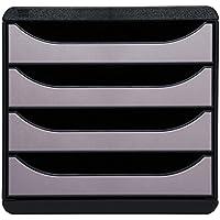 Exacompta 310438D-Big Box Module de Classement 4 Tiroirs Noir/Argent