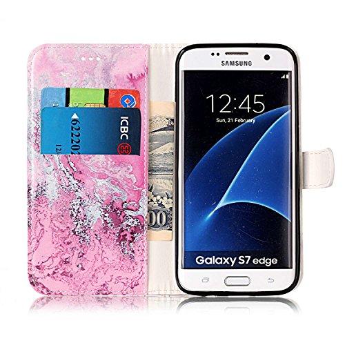 Samsung Galaxy S7 Edge Custoida in Pelle Portafoglio,Samsung Galaxy S7 Edge Cover Pu Wallet,KunyFond Lusso Moda Marmo Dipinto Leather Flip Protective Cover con Bella Modello Cover Custodia per Samsung Acqua di mare rosa