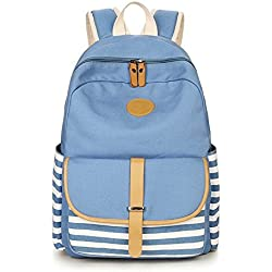 Karresly Canvas Cute Backpack Sports Shoulder Book Laptop Bag School Daypack For Women & Girls Boys(Light Blue)