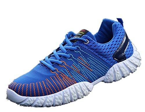 Wealsex Baskets Basse En Mesh Léger Chaussures de Sport Course Fitness Gymnastique Compétition Entraînement Respirante outdoor Homme Bleu