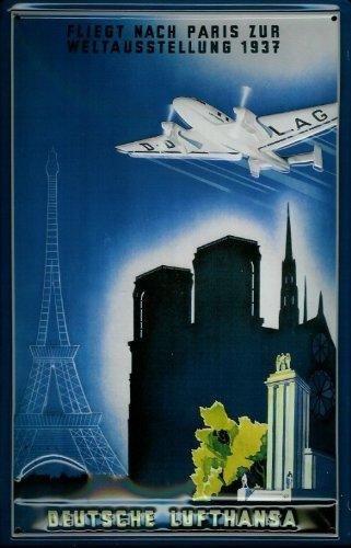 targa-in-metallo-lufthansa-aereo-parigi-notre-dame-eifel-torre-nostalgia-metallo-decorazione
