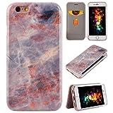 iPhone 6s Plus Hanyhüllen, iPhone 6 Plus Hülle, Purple Angel Hard Marmor Hülle 360 Grad Flip Case Schutzhülle HandyHülle Bookstyle Cover Tasche mit Standfunktion Kartenfach für iPhone 6 Plus/6s Plus 5.5 Zoll