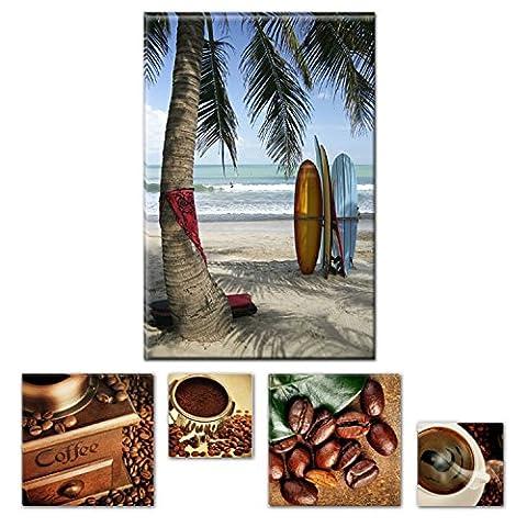 Lumière Eco Bundle sur toile Superbe Surf Bali, Indonésie 80x 119,9cm pour décoration intérieure et Lovely de cuisine Coffee Collage Lot de 4moderne encadrés