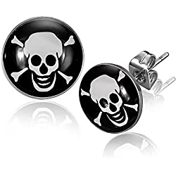 Pendientes de pirata con diseño de calavera