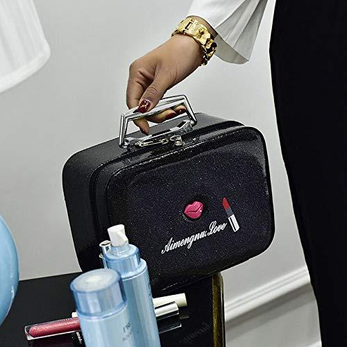 CHENHUI Kosmetiktasche Tragbare einfache Aufbewahrungsbox große Kapazität Multifunktions-Koffer Mode Reise Kosmetik-Etui wasserdicht schöne Junge Mädchen@Black_L_25cm-18cm-12cm (Wasserdichte Kosmetik-etui)
