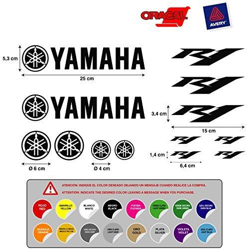 STICKER ADESIVO STICKER ADESIVO AUFKLEBER DECALS AUTOCOLLANTS YAMAHA R1 VINILE FUSTELLATURA ALTA Qualità MOTO 5 a 7 años 13 Unità 16 colori disponibili