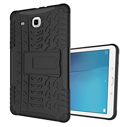 "AyiHuan Samsung Galaxy Tab E 9.6"" Hülle,Dual Layer Hybrid Rugged Heavy Duty Hard Hülle Schutzhülle mit Kickstand Schutz für Samsung Tab E SM-T560 / T561 / T565 9.6-Inch Tablet,schwarz"