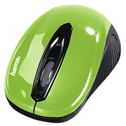 Hama AM-7300 Maus RF Wireless Optisch 1000 DPI Beidhändig - Mäuse (Beidhändig, Optisch, RF Wireless, 1000 DPI, Black, Grün) - Grüne Maus