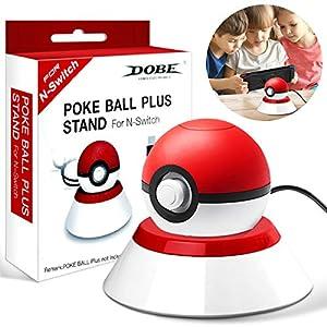 Elewelt Pokeball Plus Ladegerät Ladestation für Poke Ball Plus von Nintendo Switch Pokemon Lets Go Pikachu mit USB Ladekabel-Schwarz