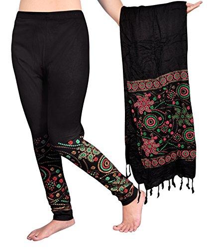 Snija Fashion Women\'s Chiffon Leggings (PRDL2105B__Black_X-Large)
