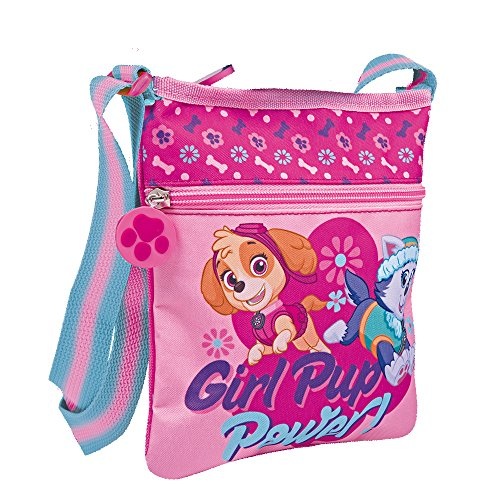 Umhängetasche für Mädchen mit Everest und Skye aus Paw Patrol - Kleine Umhänge für Kinder mit Frontverschluss - Rosa Tasche für Reisen und Freizeit - 21x18 cm - Perletti