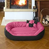 BedDog 4in1 Bed for a dog SUNNY XL till XXXL , 13 colours to choose, pillow for a dog, sofa for a dog, basket for a dog, pink/black XXXL, 150x120 cm (59x47 inch)