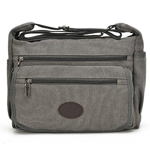 Koreanische Version Segeltuch Retro Kuriertasche Schultertaschen Freizeit Einfach Tasche deep grey