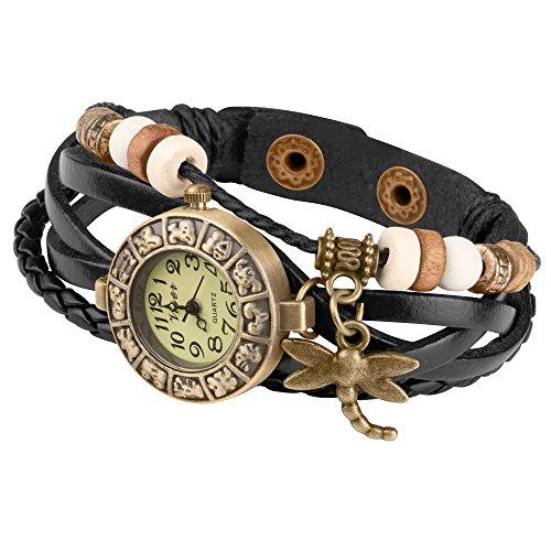 Taffstyle Damen-Armbanduhr Retro Vintage Geflochten Leder-Armband mit Charms Anhänger Analog Quarz Uhr Libelle Gold Schwarz