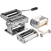VonShef 3-in-1 Stainless Steel Pasta Maker with 3 Cut Press Blade Settings, Table Top Clamp & Spaghetti Measuring Tool