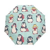 MyDaily Cute Penguins Doodle Travel Auto Open/Close Umbrella with Anti-UV Windproof Lightweight