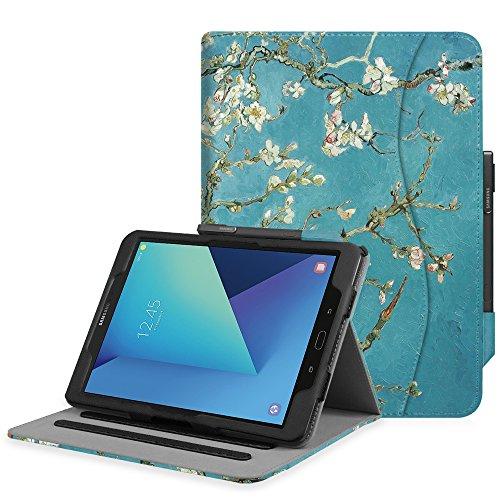 Fintie Hülle für Samsung Galaxy Tab S3 T820 / T825 (9,68 Zoll) Tablet - Multi-Winkel Betrachtung Kunstleder Schutzhülle Case Cover mit Dokumentschlitze und Auto Schlaf/Wach Funktion, Mandelblüten