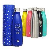 Bottiglia per acqua Sternitz in acciaio inossidabile senza BPA - 24 Ore Freddo & 12 Caldo - 500 ml. (Blu Navy)