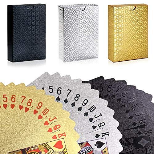 U&X 3 Stück Kunststoff Spielkarten, Plastik Wasserfeste Pokerkarten mit Geschenkbox,Familienparty Spiel Playing Cards (Goldfolie, Schwarzefolie, Silberfolie)