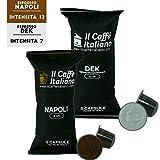 50 Cápsulas de Café compatibles Nespresso sabor Café Napoli + Dek, 50 Cápsulas compatibles con máquinas Nespresso - Il Caffè italiano