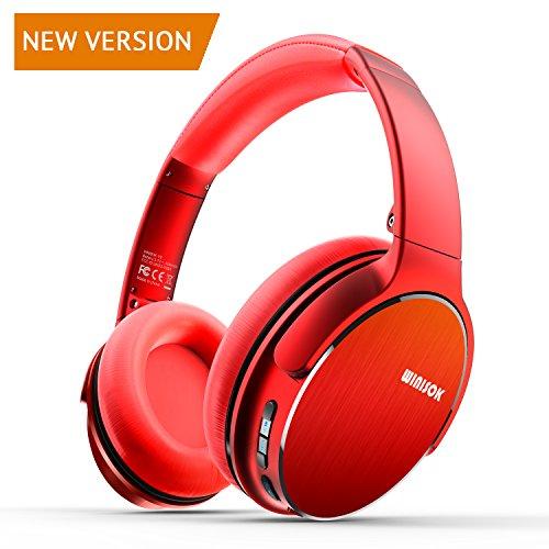 Foto de Auriculares Bluetooth Diadema Winisok, Auriculares Inalámbricos Bluetooth con Micrófono Casco Plegable Headphone Bluetooth Manos Libres y Cable de Audio para Apple iPhone X, 8, 7Plus, 6s, 6 Samsung Sony Huawei (Rojo)