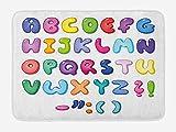 Letters Bath Mat, Bubble Shaped 3D Style Alphabet Set Colorful Kids Children Design Comic Typeset, Plush Bathroom Decor Mat with Non Slip Backing, 23.6 W X 15.7 W inches, Multicolor