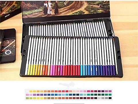 l'aquarelle de crayons, crayons de couleur, avec boîte en étain pour adulte Coloration Dessin livres, écrire et dessiner, 72 Couleurs Tin