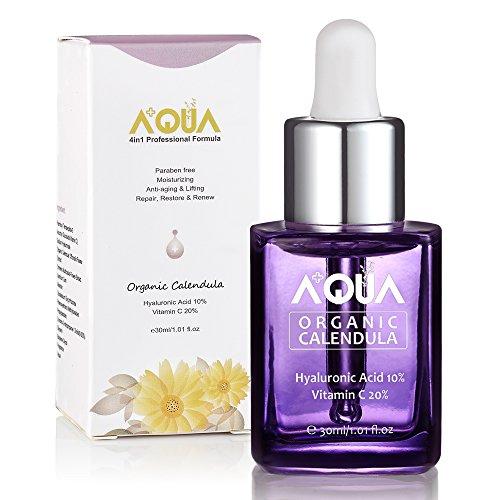 AQUA + Siero idratante viso con estratto di calendula biologica, con vitamina C, acido ialuronico - garantito anti-invecchiamento, idratante, sbiancante e lenitivo- certificato biologico QAI (30 ml)