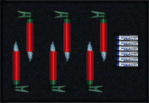 LUMIX Premium Mini, kabellose LED-Mini-Christbaumkerzen, Erweiterungs-Set mit 6 Kerzen, Flackermodus, Rot, Art. 75456 - 2