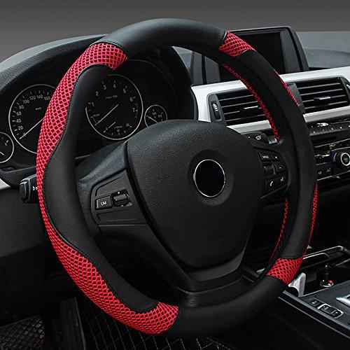FREESOO Coprivolante Traspirante Antiscivolo Copertura di Volante Universale 38cm Accessori dell'automobile Rosso Nero