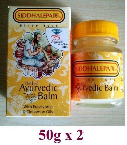 2 X 50g Siddhalepa Ayurveda Ayurvedic Herbal Balm Pain Cold Flu Headaches (50g) by Siddhalepa -