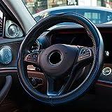 SAND-H Genuina dellautomobile volante in pelle copertura universale da 15 pollici / 38CM traspirante antiscivolo Auto Wheel manica Protector, un buon grip (Black+Blue)