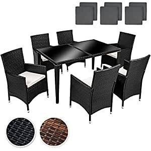 TecTake arredo giardino set rattan salotti rattan mobili in rattan tavoli per esterno sedie da giardino alluminio set 6+1 + 2 set di rivestimenti di ricambio per i cuscini, viti in acciaio inox - disponibile in diversi colori - (Antracite   No. 400873)