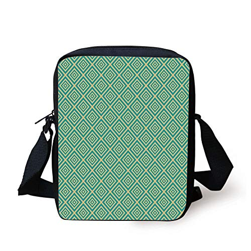 KLYDH Art Deco,Nested Squares Geometrical Contemporary Design Symmetrical Tile Print Decorative,Turquoise and Yellow Print Kids Crossbody Messenger Bag Purse Bowling-art-deco