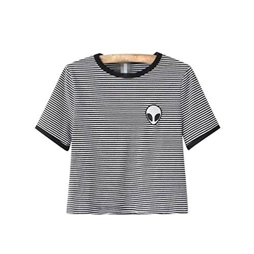 Camisetas Cortas Manga Corta Mujer Camiseta de Rayas Camisas de...