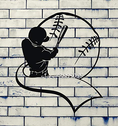 56X89 cm Baseballschläger Und Handschuh Männer Wandaufkleber Sport Decor Wandbild Vinyl Kunst Aufkleber Hohe Qualität Tapete Design Poster SA805