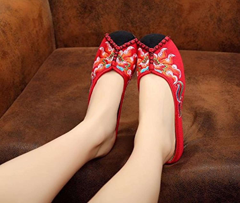 GuiXinWeiHeng xiuhuaxie (new)-Gestickte Schuhe Sehnensohle ethnischer Stil weiblicher Flip Flop Mode bequemö