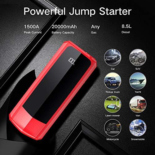 Audew-Jump-Starter-1500A-Corrente-di-Picco-20000mAh-Avviatore-di-Emergenza-Auto-Fino-a-Gas-Vari-Tipi-e-Diesel-85L-12V-Schermo-LCD-Torcia-Elettrica-a-LED-con-Doppie-Porte-USB