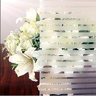 Aingoo Statische Folie Frosted Milchglas Streifen Fensterfolie Sichtschutzfolie Milchglasfolie Glasdekorfolie 105 45x200cm