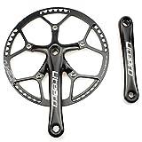 Single Speed Kettenradgarnitur 58T 170mm Kurbel Arm 130BCD LitePro Fahrrad Falt Kettenradgarnitur mit Schutzhülle für Single Speed Bike, Track Road Fahrrad, Fixed Gear, Fixie, Dahon (Square Taper, schwarz)