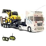 RC ferngesteuerter XXL Truck + Bagger, beide Modelle ferngesteuert LKW-Modellbau, Radlader 1:32, Soundeffekte, LED's, Komplett-Set