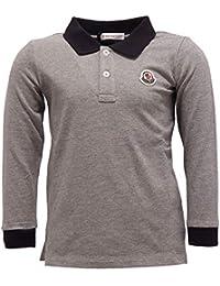 MONCLER 7385Y Polo Bimbo Boy Grey Cotton Long Sleeve Polo t-Shirt 61efd5bb133