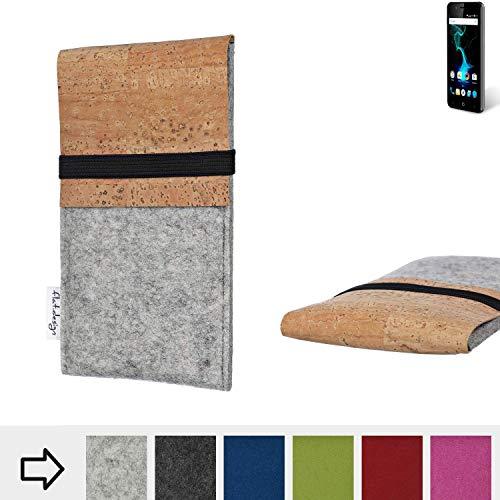flat.design für Allview P6 Pro Schutzhülle Filztasche SAGRES mit Korklasche - passgenaue Schutz Tasche Handy Case aus 100% Wollfilz (hellgrau) für Allview P6 Pro