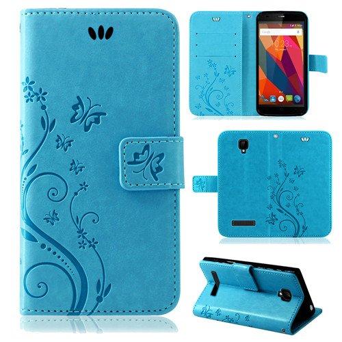betterfon Flower Case Handytasche Schutzhülle Blumen Klapptasche Handyhülle Handy Schale für ZTE Blade L5 Plus Blau