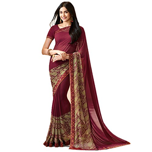 Visat Designer Women's Georgette Saree(A20Brown-VISAT DESIGNER15_Brown_Free Size)