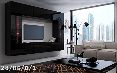 exklusive wohnwaende HomeDirectLTD Future 28 Wohnwand Anbauwand Wand Schrank TV-Schrank Wohnzimmer Wohnzimmerschrank Möbel Hochglanz Weiß Schwarz LED RGB Beleuchtung (28/HG/B/1, RGB)