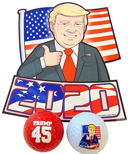 Donald Trump 2020Geschenk-Set mit Auto-Magnet und Neuheit Golf Bälle