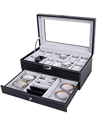 Watch Box-12 Slots Mens Watch Organizer Faux Leather Jewelry Display Pillow Case, Eyewear & Sunglasses Case, Lockable Watch Case, Jewelry Drawer for Storage and Display