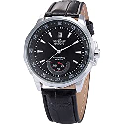 AMPM24 Mens Leather Self-Winding Mechanical Movement Mens Sport Watch Black Dial 2012 + AMPM24 Gift Box PMW011