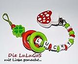 Schnullerkette mit Namen - Glücksbringer Fliegenpilz Kleeblatt mit Ringe in rot grün für Jungen Mädchen